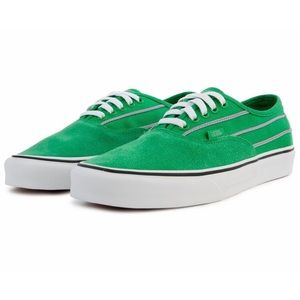 Green VANS Authentic Sport Stripes Skate Shoes